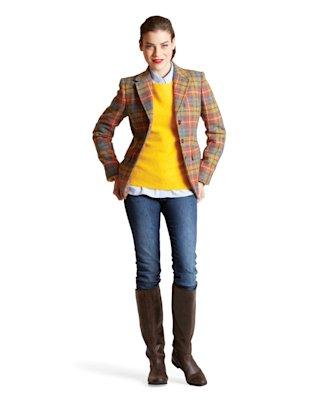 Slim jeans, riding boots, yellow sweater, checked blazer, Jan 13, p41