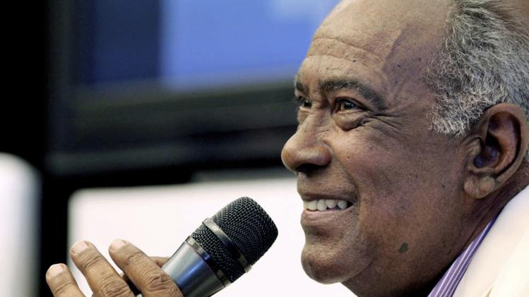 "File picture shows Puerto Rican salsa singer Jose ""Cheo"" Feliciano giving a news conference in San Juan"