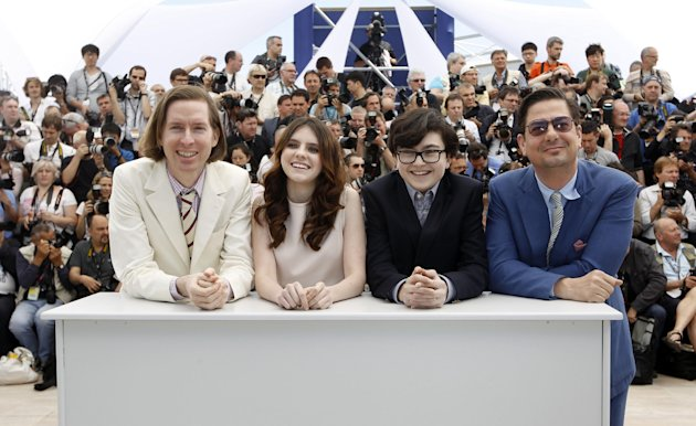 From left, Director Wes Anderson, Kara Hayward, Jared Gilman and Screenwriter Roman Coppola pose during a photo call for Moonrise Kingdom at the 65th international film festival, in Cannes, southern France, Wednesday, May 16, 2012. (AP Photo/Joel Ryan)