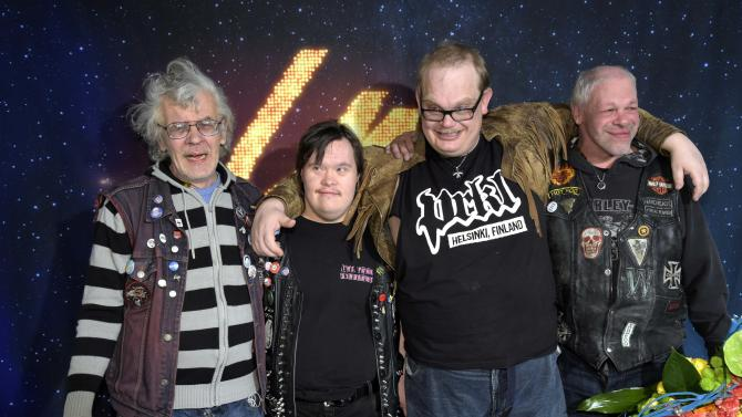 Finnish punk band PKN celebrate winning Yle's Uuden Musiikin Kilpailu and becoming the country's Eurovision song contest representative, in Helsinki