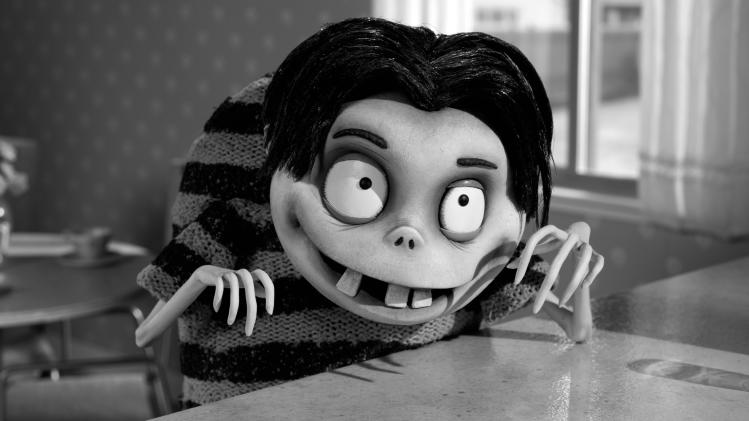 "FILE - This publicity film image released by Disney shows Edgar ""E"" Gore, voiced by Atticus Shaffer in a scene from ""Frankenweenie."" The Disney film has been nominated for an Academy Award in the Animated Feature Film category. The 85th Academy Awards are on Sunday, Feb. 24, 2013, in Los Angeles.  (AP Photo/Disney, file)"