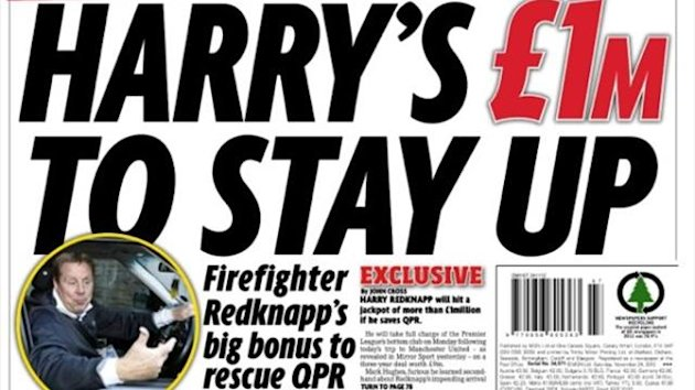 Daily Mirror back page November 24, 2012