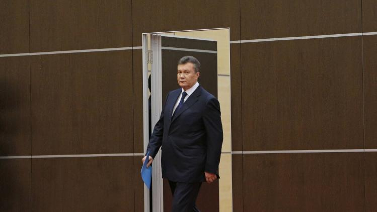 Ousted Ukrainian President Viktor Yanukovich attends a news conference in Rostov-on-Don