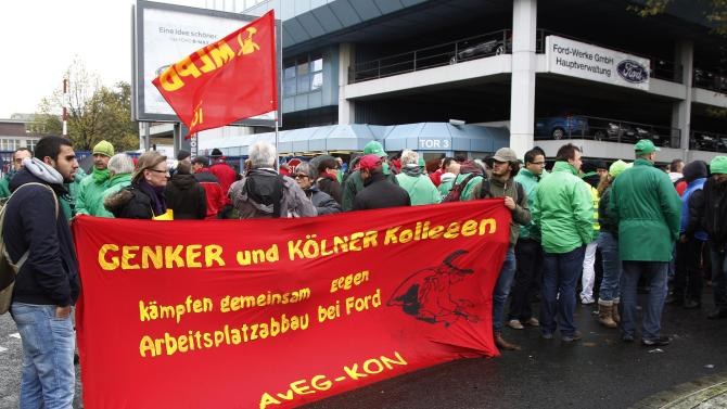 Protests outside Ford European HQ in Germany