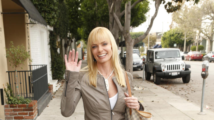 Jaime Pressly shops wearing 1921 Jeans, a YoYo Yeung Jacket, a Caviar Mom necklace and shoes by Sole Society on Tuesday December 4, 2012 in Los Angeles, California. (Photo by Todd Williamson/Invision/AP Images)