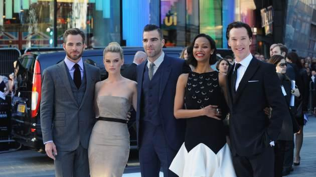 Chris Pine, Alice Eve, Zachary Quinto, Zoe Saldana and Benedict Cumberbatch attend the UK Premiere of 'Star Trek Into Darkness' at The Empire Cinema on May 2, 2013 in London, England -- Getty Images