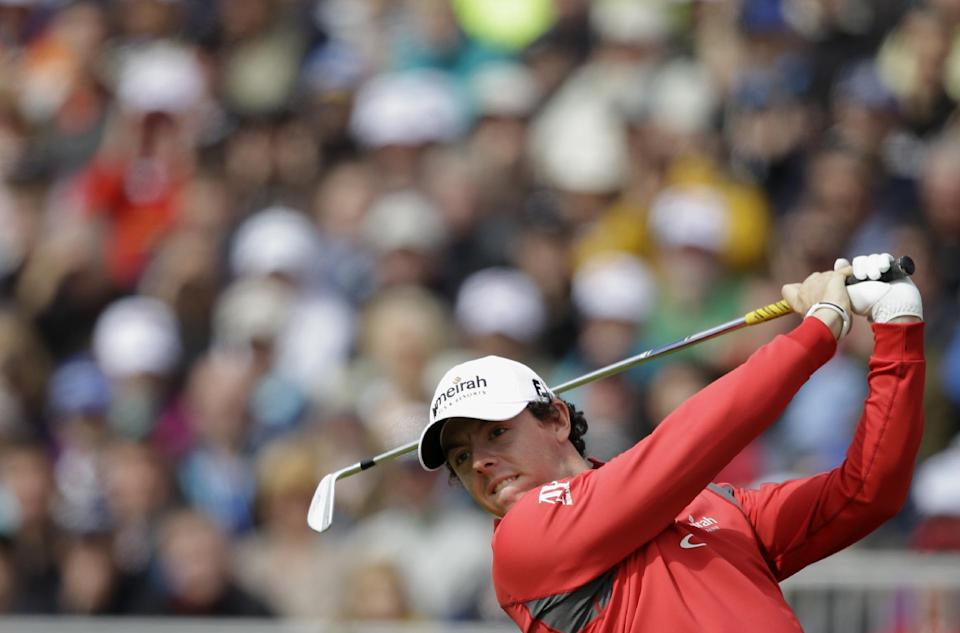 Rory McIlroy of Northern Ireland plays a shot off the fifth tee at Royal Lytham & St Annes golf club during the second round of the British Open Golf Championship, Lytham St Annes, England, Friday, July 20, 2012. (AP Photo/Tim Hales)