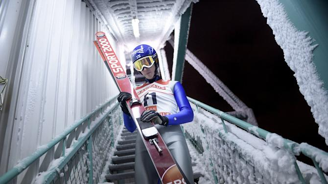 Test jumper Klinga of Finland comes down after the start of the Ski Jumping Large Hill (HS142) Individual practice round was postponed due to severe wind conditions at FIS Ruka Nordic 2015 in Kuusamo