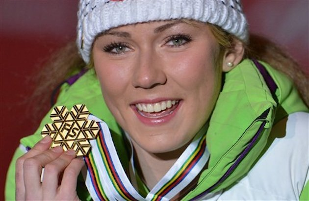 New 17-year-old slalom world champion Mikaela Shiffrin — Associated Press