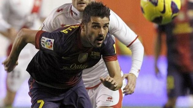 David Villa en el partido del Barcelona ante el Rayo Vallecano