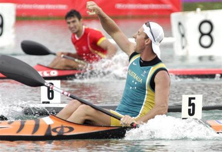 Australian Nathan Baggaley celebrates his victory in the men's K1, 500 metres race in Zagreb.