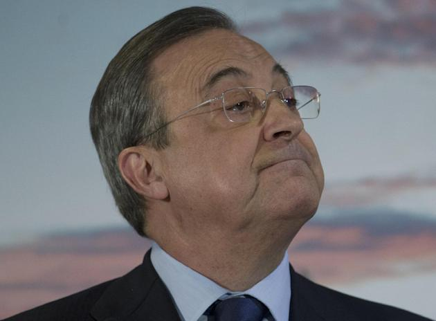 Real Madrid's President Florentino Perez listens to a question after his annual Christmas speech in Madrid,  Spain, Friday, Dec. 13, 2013. Real Madrid is currently in third position in the Spanish