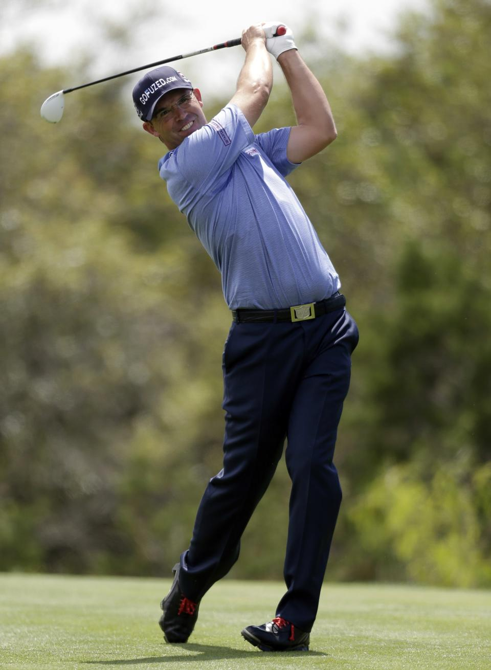 Padraig Harrington, of Ireland, watches his drive on the 15th hole during the second round of the Texas Open golf tournament, Friday, April 5, 2013, in San Antonio.  (AP Photo/Eric Gay)
