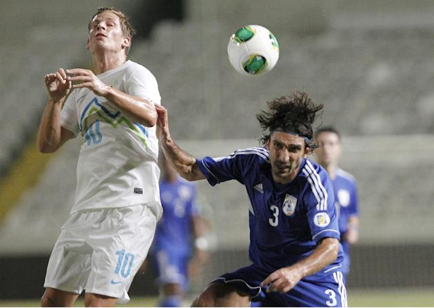 Cyprus' Elias Charalambous, right, challengers for the ball with Slovenia's Valter Birsa during their World Cup group E qualifying soccer match at GSP stadium in Nicosia, Cyprus, Tuesday, Sept. 10, 20