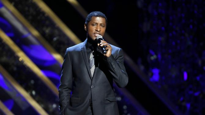 "Singer Kenny Babyface Edmonds performs ""Gone Too Soon"" at the 42nd Annual Daytime Emmy Awards in Burbank"
