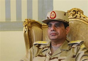 Egypt's Defense Minister Abdel Fattah al-Sisi is seen during a news conference in Cairo on the release of seven members of the Egyptian security forces kidnapped by Islamist militants in Sinai