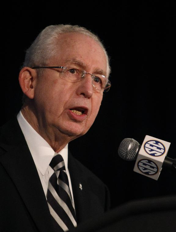 Southeastern Conference (SEC) Commissioner Mike Slive speaks during SEC media days on Monday, July 14, 2014, in Hoover, Ala