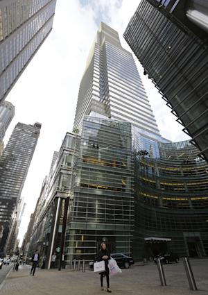 "The Bloomberg LP Tower, which houses Bloomberg News, is shown Monday, May 13, 2013, in New York.  Bloomberg LP, a financial data and news company, said it has corrected a ""mistake"" in its news gathering policies and cut off its journalists' special access to client log-in activity on the company's ubiquitous trading information terminals after  Goldman Sachs complained about the matter last month. (AP Photo/Kathy Willens)"