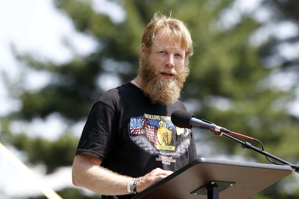 Bob Bergdahl, father of Army Sgt. Bowe Bergdahl of Hailey, Idaho, who is being held captive in Afghanistan, speaks at the the annual Rolling Thunder rally for POW/MIA awareness, in Washington, Sunday, May 27, 2012. (AP Photo/Charles Dharapak)