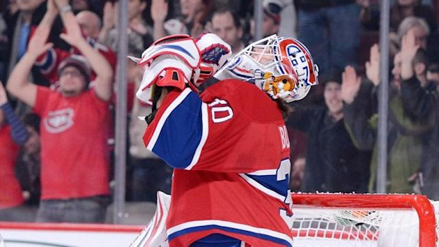 Peter Budaj of the Montreal Canadiens celebrates his shutout victory over the Carolina Hurricanes at the Bell Centre (AFP)