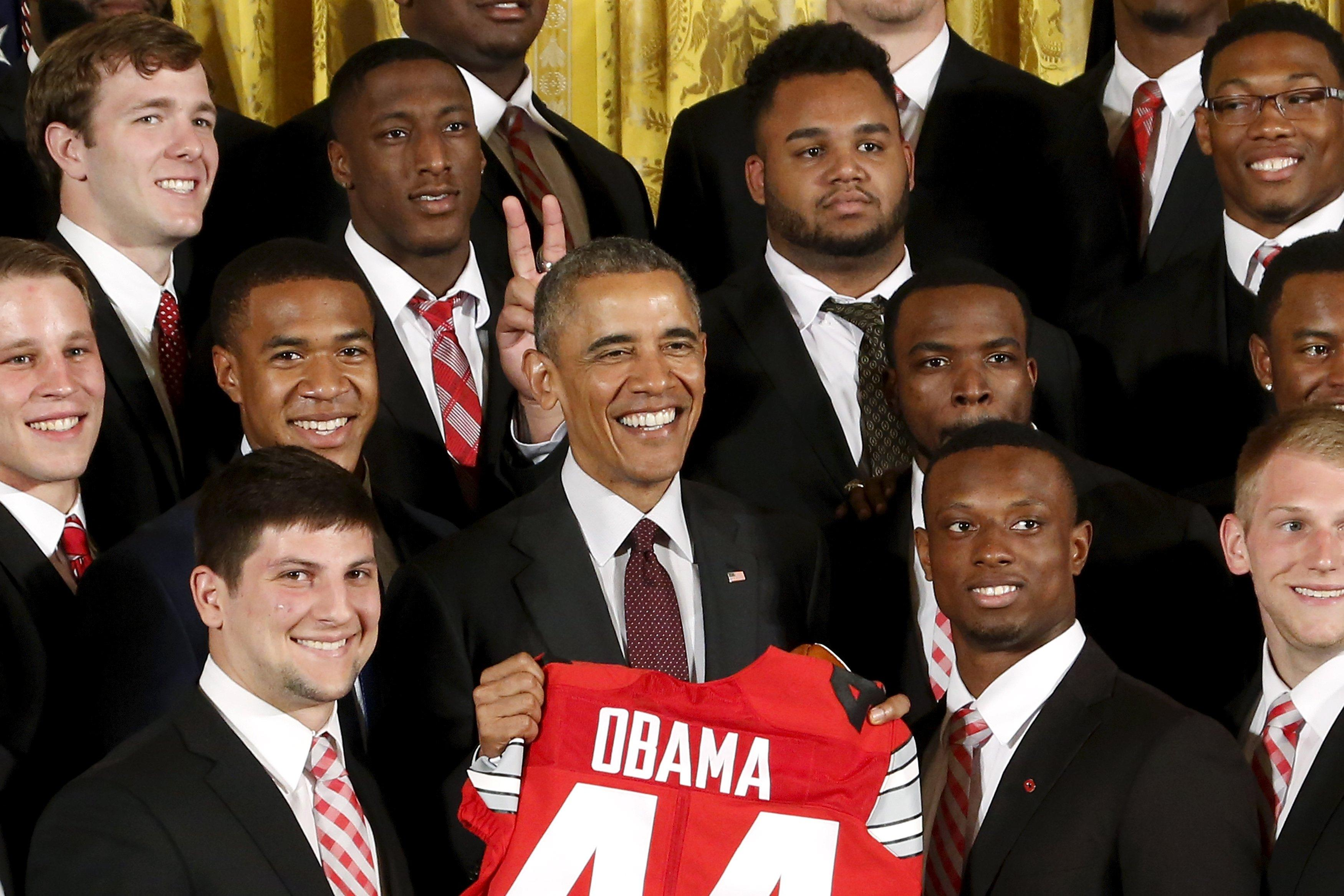 President Obama honors the Ohio State Buckeyes at White House