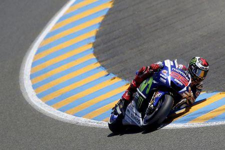 Yamaha MotoGP rider Lorenzo of Spain rides his bike during the French Grand Prix at the Le Mans circuit, in Le Mans, France