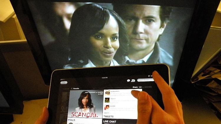 "Kerry Washington from the ABC's ""Scandal,"" is shown on a TV monitor as an iPad displays the show page on the Yap.tv social media website in New York, Wednesday, May 2, 2012. TV viewing is increasingly expanding to a second screen_whether smartphone or tablet. (AP Photo/Frazier Moore)"