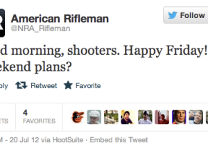 NRA Tweet: 'Good morning, shooters. Happy Friday! Weekend plans?'