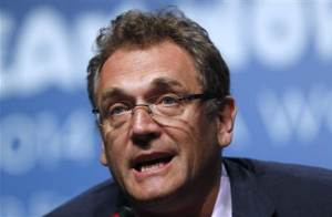 FIFA General Secretary Valcke speaks during an announcement on the status of Curitiba as a host city for the 2014 World Cup, in Florianopolis