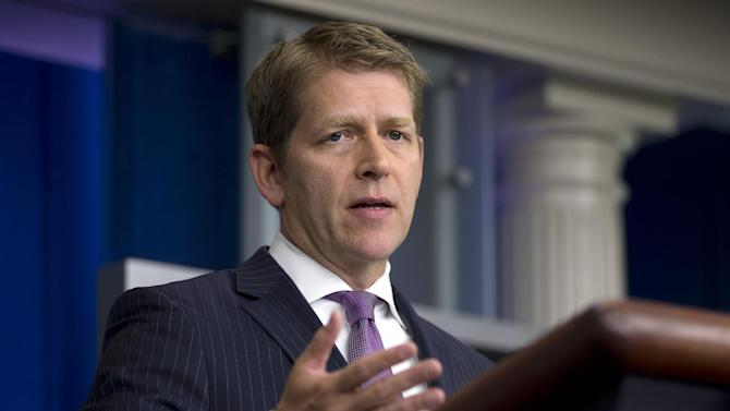White House press secretary Jay Carney gestures as he speaks during the daily briefing at the White House in Washington, Tuesday, July 16, 2013. The filibuster fight in the Senate, National Security Agency leaker Edward Snowden, immigration reform, and the death of Trayvon Martin, were among the topics Carney discussed. (AP Photo/Carolyn Kaster)