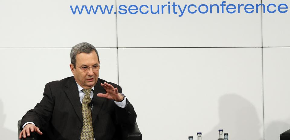 Israeli Defense Minister Ehud Barak gestures during a meeting at the Security Conference in Munich, southern Germany, on Sunday, Feb. 3, 2013. The 49th Munich Security Conference started Friday until Sunday with experts from 90 delegations. (AP Photo/Matthias Schrader)
