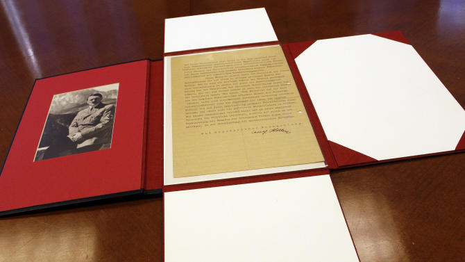 A letter written by Adolf Hitler is photographed, Tuesday, June 7, 2011 in New York.  In 1919, decades before the Holocaust, the 30-year-old German soldier — born in Austria — penned what are believed to be Hitler's first written comments calling for the annihilation of Jews. (AP Photo/Mary Altaffer)