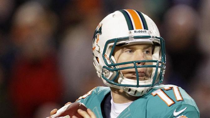 Miami Dolphins quarterback Ryan Tannehill (17) looks to pass during the first half of an NFL football game against the Buffalo Bills, Thursday, Nov. 15, 2012, in Orchard Park, N.Y. (AP Photo/Gary Wiepert)