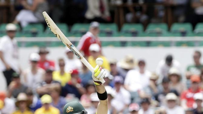 Australia's Glenn Maxwell loses control of ball against England during One Day International tri-series cricket final match at WACA ground