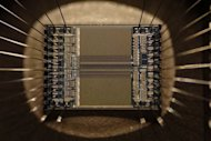 Integrated circuit from an EPROM memory microchip showing the memory blocks and supporting circuitry.