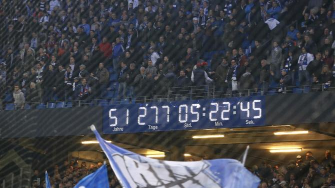 A digital clock displays how long Hamburger SV has been in the Bundesliga first division after German Bundesliga first leg relegation playoff soccer match against Karlsruhe SC in Hamburg