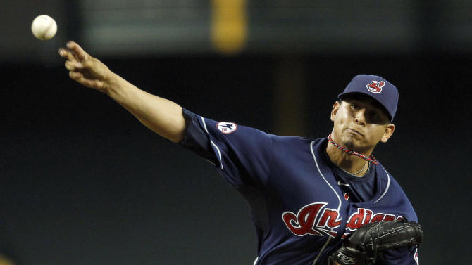 Cleveland Indians' Carlos Carrasco throws against the Arizona Diamondbacks during the fourth inning of an interleague baseball game, Wednesday, June 29, 2011, in Phoenix. (AP Photo/Ross D. Franklin)