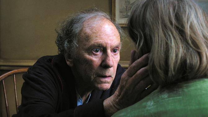 """This film image released by Sony Pictures Classics shows Jean-Louis Trintignant in a scene from the Austrian film, """"Amour.""""  The film is on of 71 films submitted for consideration in the foreign language film category for the 85th Academy Awards. The Academy Awards will be presented on Sunday, Feb. 24, 2013, at The Dolby Theatre in Los Angeles. (AP Photo/Sony Pictures Classics)"""