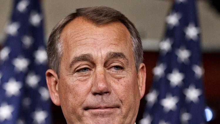 House Speaker John Boehner of Ohio takes questions during his weekly news conference on Capitol Hill in Washington, Thursday, May 17, 2012.   (AP Photo/J. Scott Applewhite)