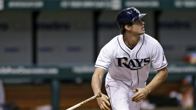 Tampa Bay Rays' Wil Myers flips his bat after hitting a second-inning home run off Toronto Blue Jays pitcher Esmil Rogers during a baseball game Monday, June 24, 2013, in St. Petersburg, Fla. (AP Photo/Chris O'Meara)