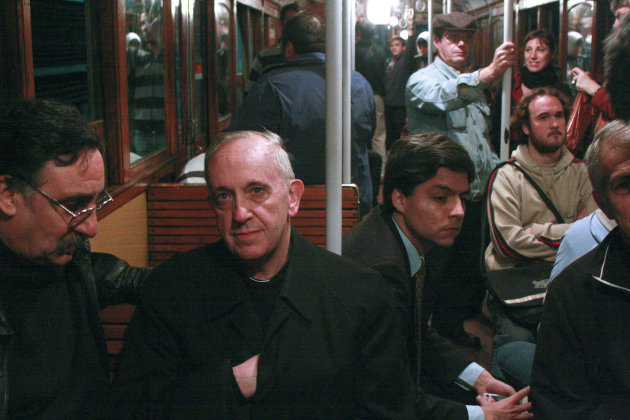 "FILE - In this 2008 file photo, Cardinal Jorge Mario Bergoglio, second from left, travels on the subway in Buenos Aires, Argentina. Bergoglio is being hailed with pride and wonder as the ""first Latino pope,"" a native Spanish speaker born and raised in the South American nation of Argentina. But for some Latinos in the United States, there's a catch: Pope Francis' parents were born in Italy. The conversation about Pope Francis' ethnicity is rooted in history and geography. Latin America is a complex region of deep racial and class narratives. (AP Photo/Pablo Leguizamon, File)"
