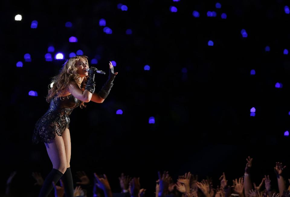 Beyonce performs during the halftime show of the NFL Super Bowl XLVII football game between the San Francisco 49ers and the Baltimore Ravens, Sunday, Feb. 3, 2013, in New Orleans. (AP Photo/Bill Haber)