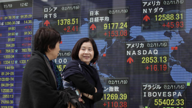 Women walk past an electronic stock indicator in Tokyo, Monday, Nov. 19, 2012 as the yen's recent weakness helped boost Japan's Nikkei 225 and its heavy orientation toward exporting companies. The index in Tokyo jumped 1.6 percent to 9,171.26, a two-month high. (AP Photo/Shizuo Kambayashi)