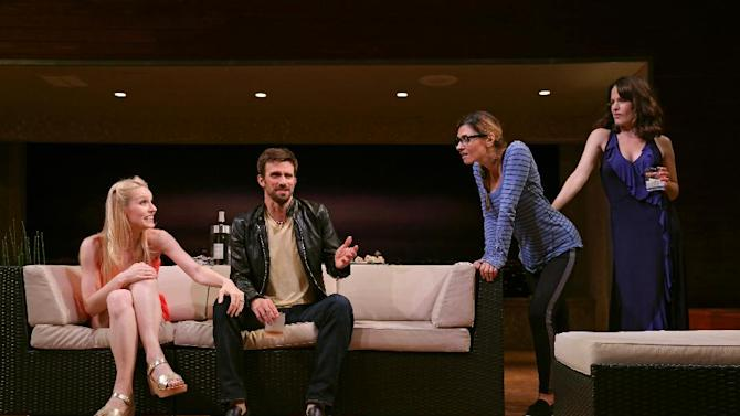 """In this image released by The O and M Company, Gia Crovatin, from left, Fred Weller, Callie Thorne and Elizabeth Reaser appear during a performance of """"The Money Shot,"""" in New York. (AP Photo/The O and M Company, Joan Marcus)"""