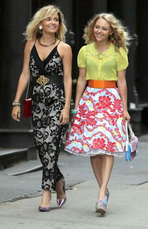 Young Carrie and Samantha! 'The Carrie Diaries' stars Lindsey Gort and AnnaSophia Robb seen filming on July 25, 2013 in New York City -- Getty Premium