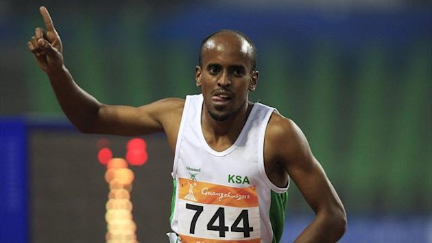 Mohammed Othman H Shaween of Saudi Arabia reacts after winning the men's 1500m final during the Asian Games in Guangzhou, Guangdong province November 23, 2010 (Reuters)