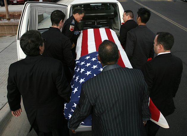 "Pallbearers carry Sherman Hemsley's remains into Cielo Vista Chuch in El Paso, Texas, Wednesday, Nov. 21, 2012, nearly four months after his death. Friends and family are remembering actor Sherman Hemsley at his funeral service in Texas by showing video clips of his best known role as George Jefferson on the TV sitcom ""The Jeffersons."" He died in July but a fight over his estate has delayed his burial. (AP Photo/The El Paso Times, Mark Lambie) EL DIARIO OUT; JUAREZ MEXICO OUT; AND EL DIARIO DE EL PASO OUT"