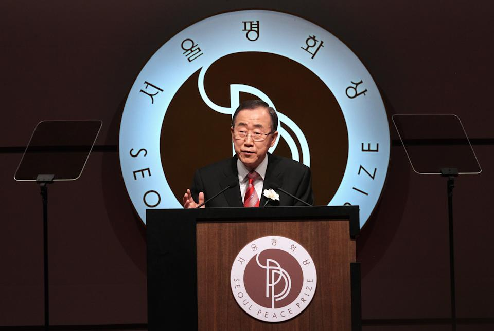 U.N. Secretary General Ban Ki-moon delivers a speech after Ban received the trophy of Seoul Peace Prize during the award ceremony in Seoul, South Korea, Monday, Oct. 29, 2012. Ban expressed deep disappointment at the collapse of a cease-fire in Syria and urging more unity from the international community.(AP Photo/Ahn Young-joon)