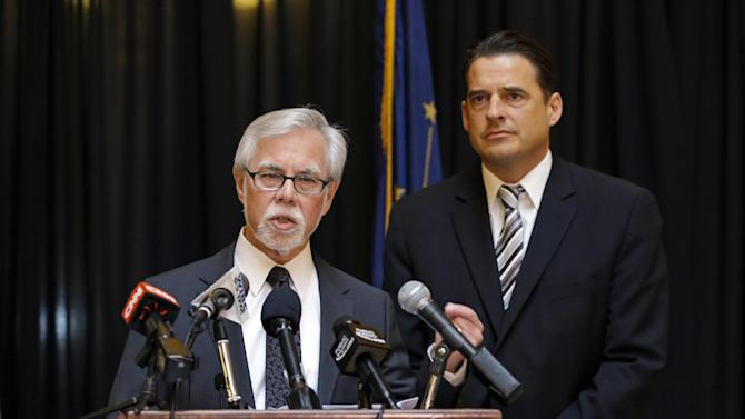 Indiana Senate Democratic Leader Tim Lanane, left, D-Anderson, and Indiana House Democratic Leader Scott Pelath, D-Michigan City, call for the repeal of the Indiana Religious Freedom Restoration Act during a press conference at the Statehouse in Indianapolis, Monday, March 30, 2015. Republican legislative leaders in Indiana state say they are working on adding language to a new state law to make it clear that it doesn't allow discrimination against gays and lesbians.  (AP Photo/Michael Conroy)