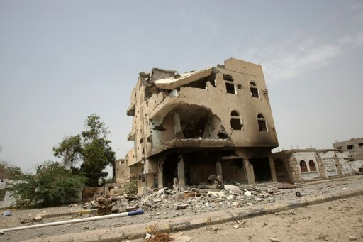 A building damaged in recent clashes between Al-Qaeda and the Yemeni troops in the restive southern city of Zinjibar. At least 16 people have been killed in clashes in Yemen&#39;s southern province of Abyan where Al-Qaeda and the army are battling for control of the restive territory